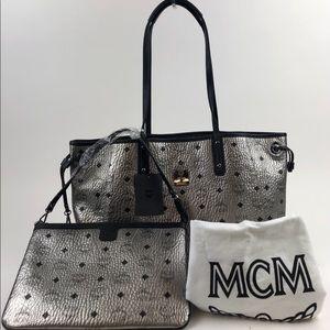 MCM Grey Metallic Project Visetos Reversible Tote